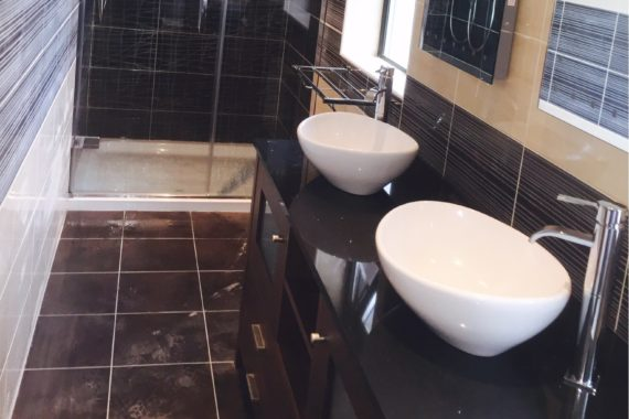 Ensuite renovation in Carlow including bespoke dual vanity unit and large shower.