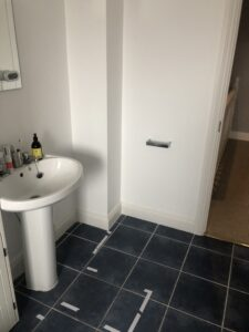 Bathroom remodel Co. Wexford picture prior to works showing soil stack boxing